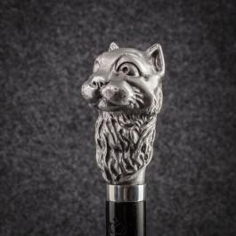 Трость для ходьбы «Кот учёный» (В серебре) Трости ручной работы мануфактуры Востротиных